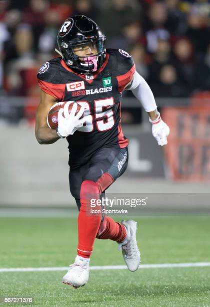 Diontae Spencer of the Ottawa Redblacks returns a kick against the Hamilton TigerCats in Canadian Football League play at TD Place Stadium in Ottawa...