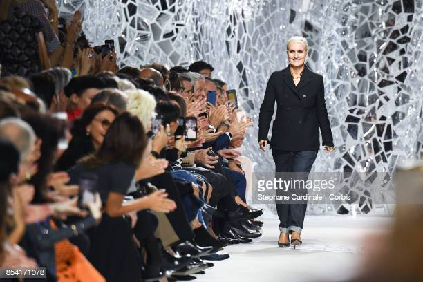 Dior Designer Maria Grazia Chiuri walks the runway during the Christian Dior Spring Summer 2018 show as part of Paris Fashion Week at Musee Rodin on...