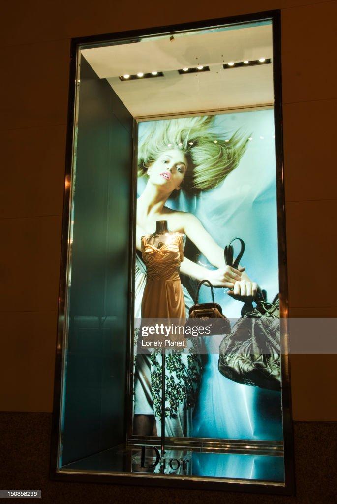 Dior fashion designer's boutique window. : Stock Photo