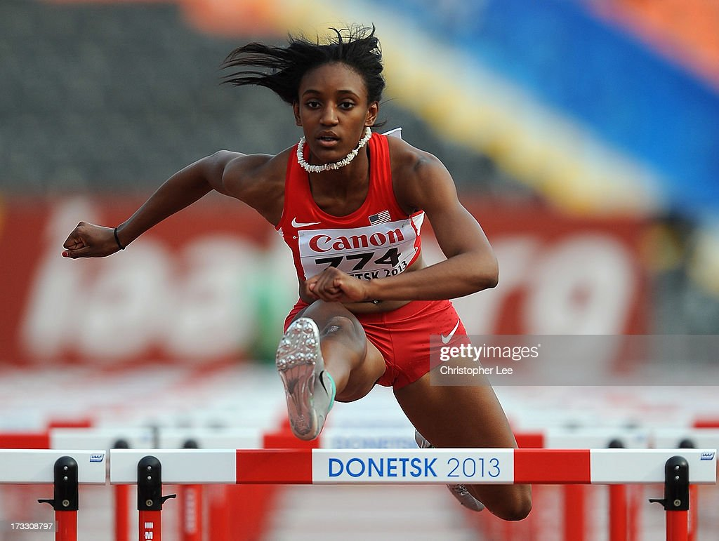 Dior Hall of USA in the Girls 110m Hurdles Semi Final during Day 2 of the IAAF World Youth Championships at the RSC Olimpiyskiy Stadium on July 11, 2013 in Donetsk, Ukraine.