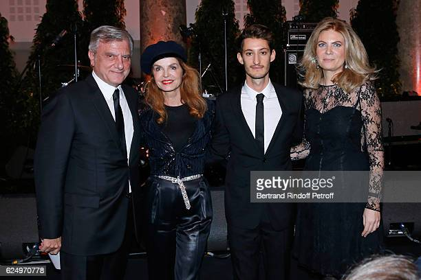 CEO Dior Sidney Toledano actress Cyrielle Clair actor Pierre Niney and President of Care France Arielle de Rothschild attend the 'Diner des amis de...