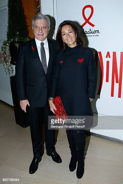 Dior Sidney Toledano and his wife Katia attend the Sidaction Gala Dinner 2017 Haute Couture Spring Summer 2017 show as part of Paris Fashion Week on...