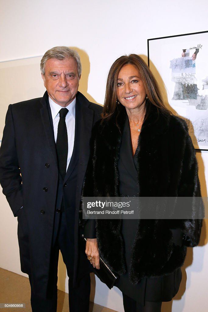 Dior Sidney Toledano and his wife Katia Toledano attend the 'Jean Nouvel and Claude Parent, Musees a venir' Exhibition Opening at Galerie Azzedine Alaïa on January 13, 2016 in Paris, France.
