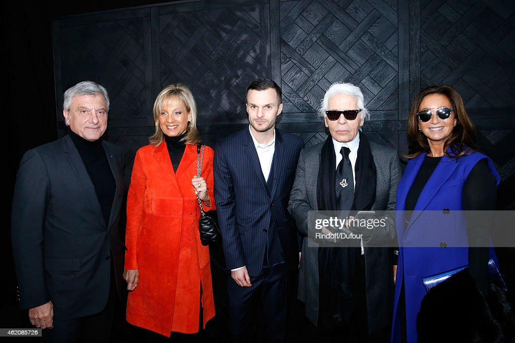 CEO Dior Sidney Toledano, Helene Arnault, Fashion designer Kris Van Assche, Fashion Designer Karl Lagerfeld and Katia Toledano pose backstage after the Dior Homme Menswear Fall/Winter 2015-2016 Show as part of Paris Fashion Week on January 24, 2015 in Paris, France.