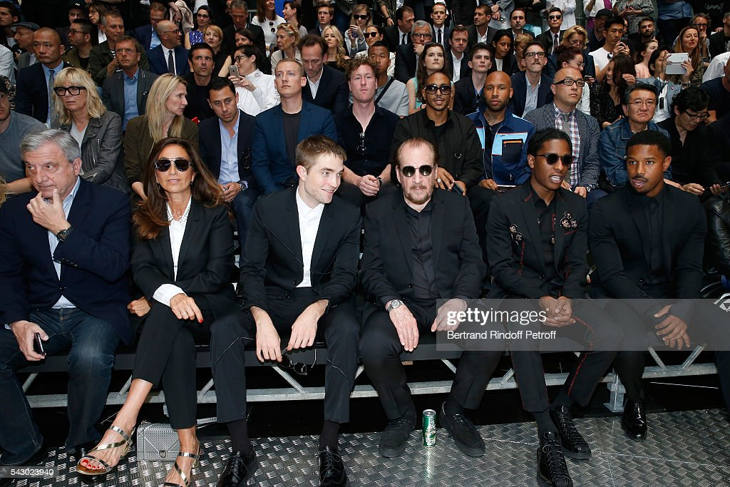 CEO Dior Sidney Toledano, his wife Katia, Robert Pattinson, Photographer Larry Clark, A$AP Rocky and Michael B. Jordan attend the Dior Homme Menswear Spring/Summer 2017 show as part of Paris Fashion Week on June 25, 2016 in Paris, France.