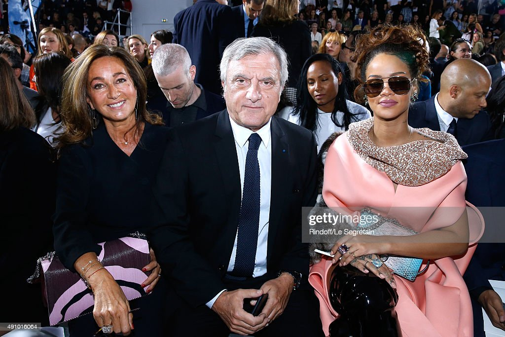 Dior Sidney Toledanositting between his wife Katia Toledano (L) and Singer Rihanna (R) attend the Christian Dior show as part of the Paris Fashion Week Womenswear Spring/Summer 2016. Held at Cour Carre du Louvre on October 2, 2015 in Paris, France.