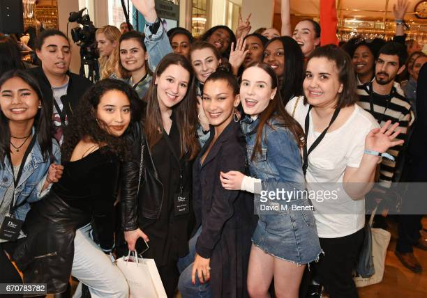 Dior spokesmodel Bella Hadid celebrates the launch of her new Dior Pump 'N' Volume Mascara with fans at Selfridges on April 20 2017 in London England