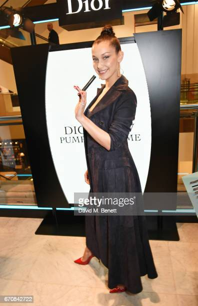Dior spokesmodel Bella Hadid celebrates the launch of her new Dior Pump 'N' Volume Mascara at Selfridges on April 20 2017 in London England