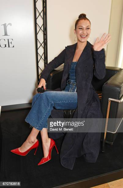Dior spokesmodel Bella Hadid speaks at the launch of her new Dior Pump 'N' Volume Mascara with her VIP friends at Selfridges on April 20 2017 in...