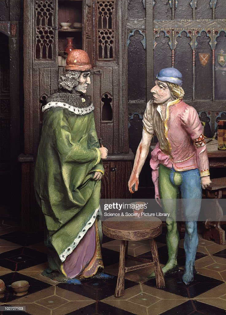 Diorama showing a 1400s consultation with a physician, United Kingdom, c.1979. Diorama showing a 1400s consultation with a physician, United Kingdom, c.1979.