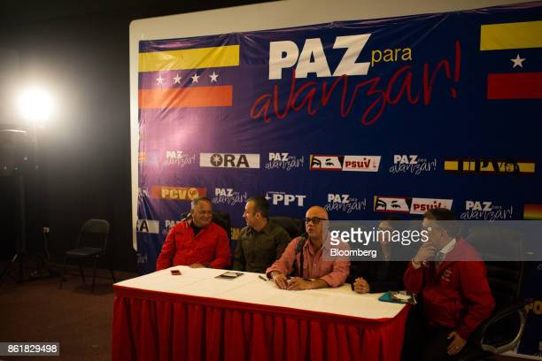 Diosdado Cabello vice president of the United Socialist Party from left Tareck El Aissami vice president of Venezuela Jorge Rodriguez mayor of...