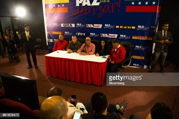 Diosdado Cabello vice president of the United Socialist Party seated from left Tareck El Aissami vice president of Venezuela Jorge Rodriguez mayor of...