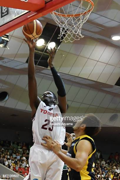 Diouf Bamba of the Kawasaki Brave Thunders puts up a layup during the BLeague Kanto Early Cup 3rd place match between Kawasaki Brave Thunders and...