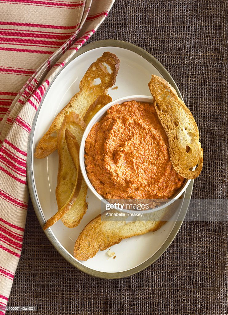 Dip and toasts, view from above : Stock Photo