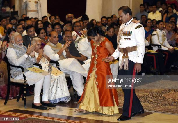 Dipa Karmakar arrives for receiving the Padma Shri Award by President of India Pranab Mukherjee during the Padma Awards 2017 Investiture Ceremony...