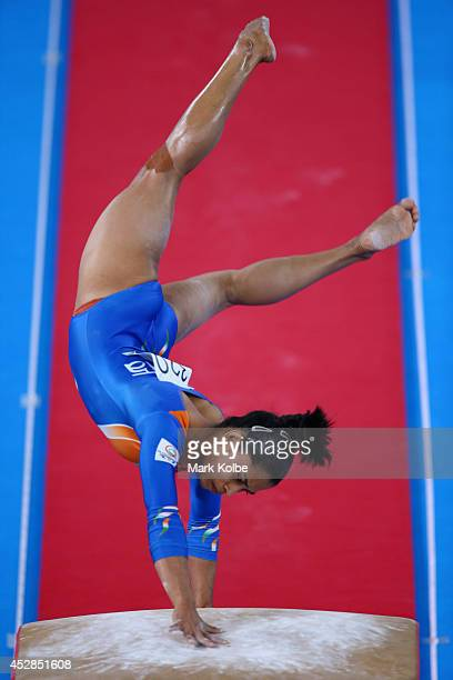 Dipa Karmakar of India competes in the Women's Team Final Individual Qualification at the SECC Precinct during day five of the Glasgow 2014...