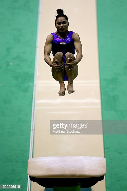 Dipa Karmakar of India competes on the vault during the Final Gymnastics Qualifier Aquece Rio Test Event for the Rio 2016 Olympics at the Olympic...