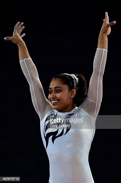 Dipa Karmakar of India performs in the womens vault final of the Artistic Gymnastics event during the 2014 Commonwealth Games in Glasgow Scotland on...