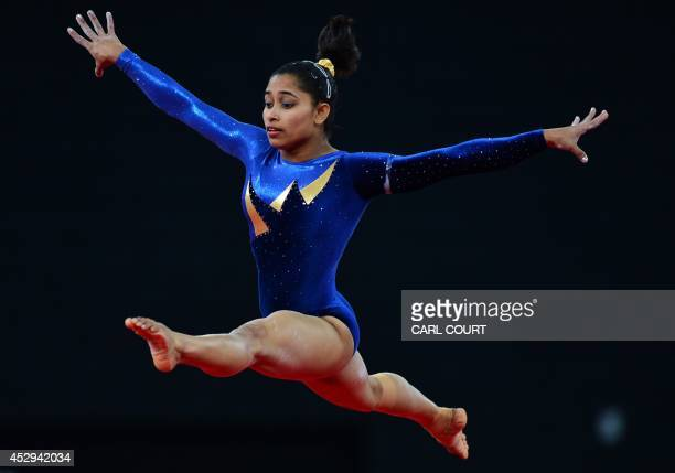Dipa Karmakar of India performs on the floor during the Women's AllAround final of the Artistic Gymnastics event during the 2014 Commonwealth Games...