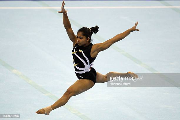 Dipa Karmarkar of India competes in the Women's Team Final floor discipline at the Asian Games Town Gymnasium during day two of the 16th Asian Games...