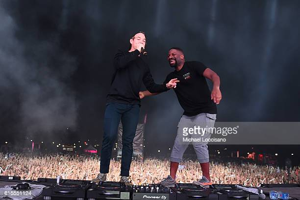 Diplo and DJ Irie perform onstage at the 'PINK Nation Campus Party' hosted by Victoria's Secret PINK at Virginia Tech on October 18 2016 in...