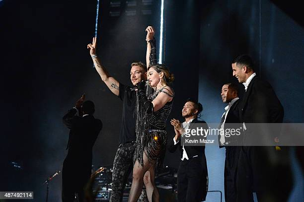 Diplo and Madonna perform onstage during her 'Rebel Heart' tour opener at Bell Centre on September 9 2015 in Montreal Canada