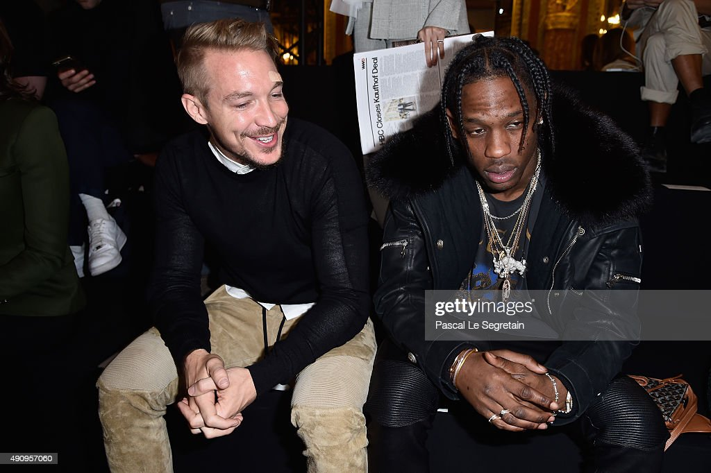 DJ Diplo and Travis Scott attend the Balmain show as part of the Paris Fashion Week Womenswear Spring/Summer 2016 on October 1, 2015 in Paris, France.