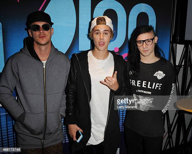 Diplo Justin Bieber and Skrillex visit Y100 Radio Station on March 30 2015 in Miami Florida