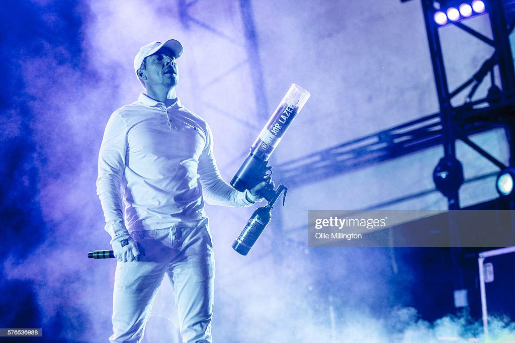 Diplo of Major Lazer perfoms during the Major Lazer headline show at the end of Day 1 of Lovebox Festival at Victoria Park on July 15, 2016 in London, England.