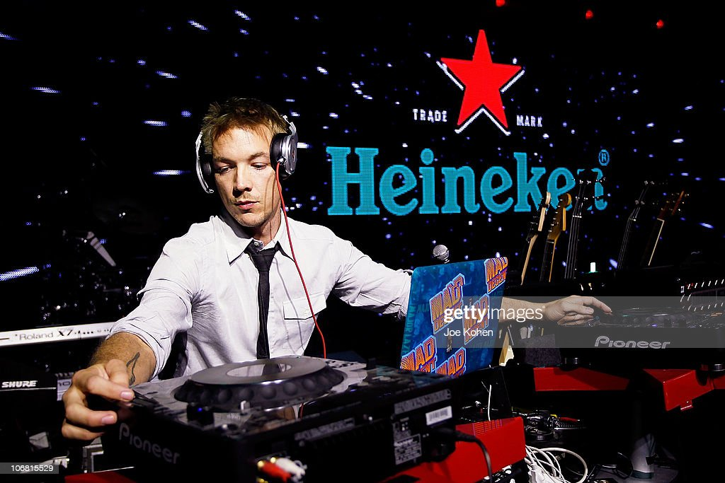 DJ Diplo performs live at the Heineken Inspire Encore Event featuring Nas, Cee Lo Green, Diplo, Pete Rock, J. Cole and Roxy Cottontail at Basketball City - Pier 36 - South Street on November 13, 2010 in New York City.