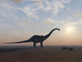A Diplodocus Dinosaur out its natural enviroment and at its end.