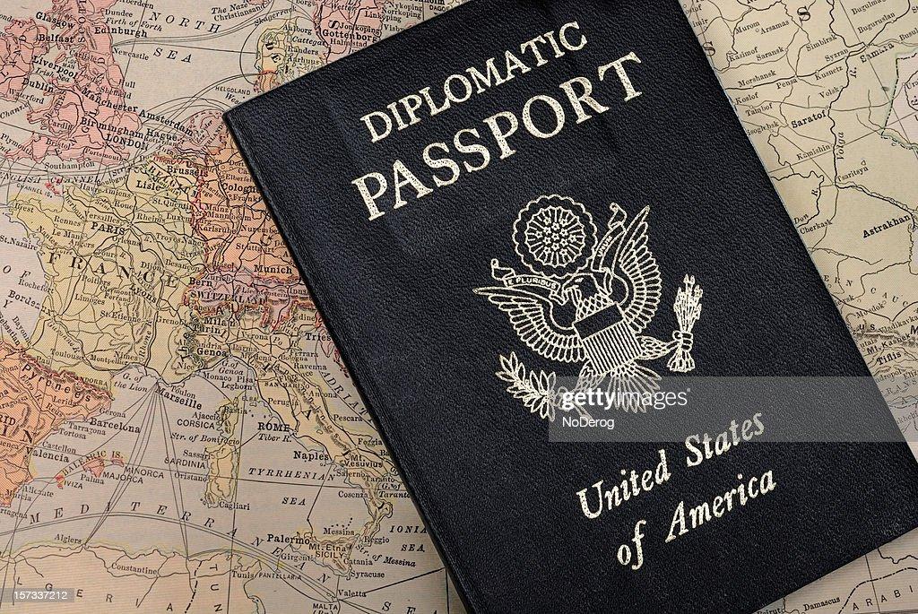 Diplomatic Passport on map of Europe