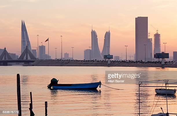 Diplomatic quarter of Bahrain at dusk