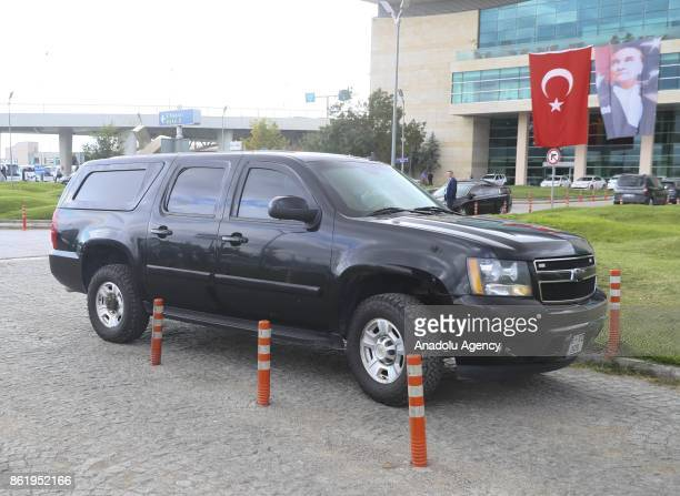 A diplomatic vehicle wait for the US mission led by Jonathan Cohen deputy assistant secretary for European and Eurasian affairs at the US State...