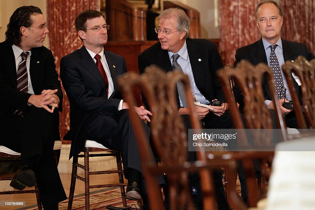 U.S. Diplomats Jonathan Prince, David Hale, <a gi-track='captionPersonalityLinkClicked' href=/galleries/search?phrase=Dennis+Ross&family=editorial&specificpeople=1062521 ng-click='$event.stopPropagation()'>Dennis Ross</a> and James Cunningham attend the opening session of the first day of direct trilateral negotiations about a Middle East peace plan in the Benjamin Franklin Room at the Department of State September 2, 2010 in Washington, DC. The Israeli and Palestinian leaders have started a new round of peace talks in Washington, the first one in more than 18 months.