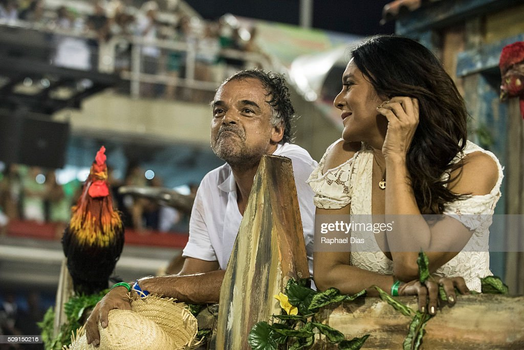 Dira Paes and Angelo Antonio attends to the Rio Carnival in Sambodromo on February 8, 2016 in Rio de Janeiro, Brazil. Despite the Zika virus epidemic, thousands of tourists gathered in Rio de Janeiro for the carnival.