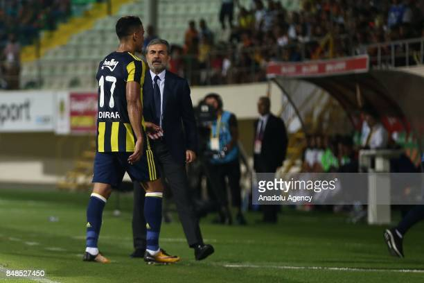 Dirar of Fenerbahce leaves the field after he injured during 5th week of the Turkish Super Lig match between Aytemiz Alanyaspor and Fenerbahce at the...