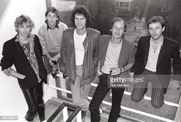 Dire Straits posed together at The Hilton Hotel Rotterdam Holland on October 14 1982 LR Hal Lindes Terry Williams John Illsley Mark Knopfler Alan...