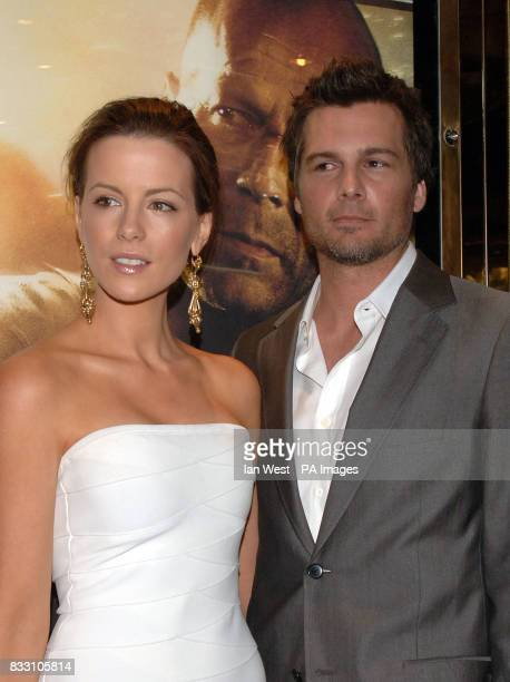 Direcor Len Wiseman and his actress wife Kate Beckinsale arrive for the UK Premiere of Die Hard 40 at The Empire Cinema in Leicester Square central...