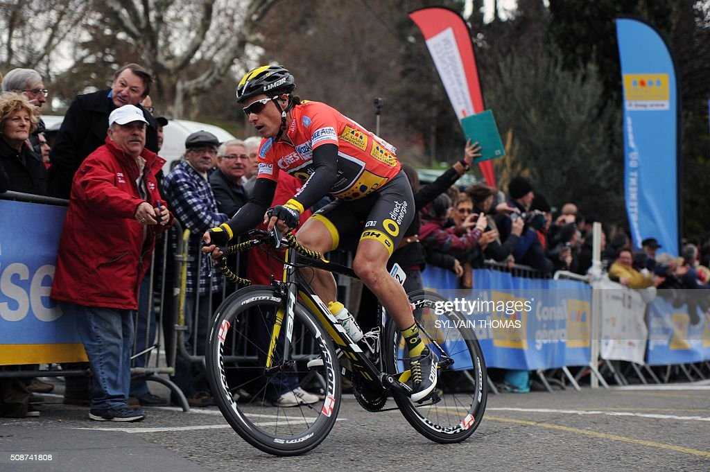 Direct Energie team's French cyclist Sylvain Chavanel competes during the fourth stage betwin Tavel and Laudun-L'Ardoise during the 46th edition of the Etoile de Besseges cycling race on February 6, 2016 in Laudun-L'Ardoise, southern France. Chavanel is the leader of the overall ranking of the race / AFP / SYLVAIN THOMAS