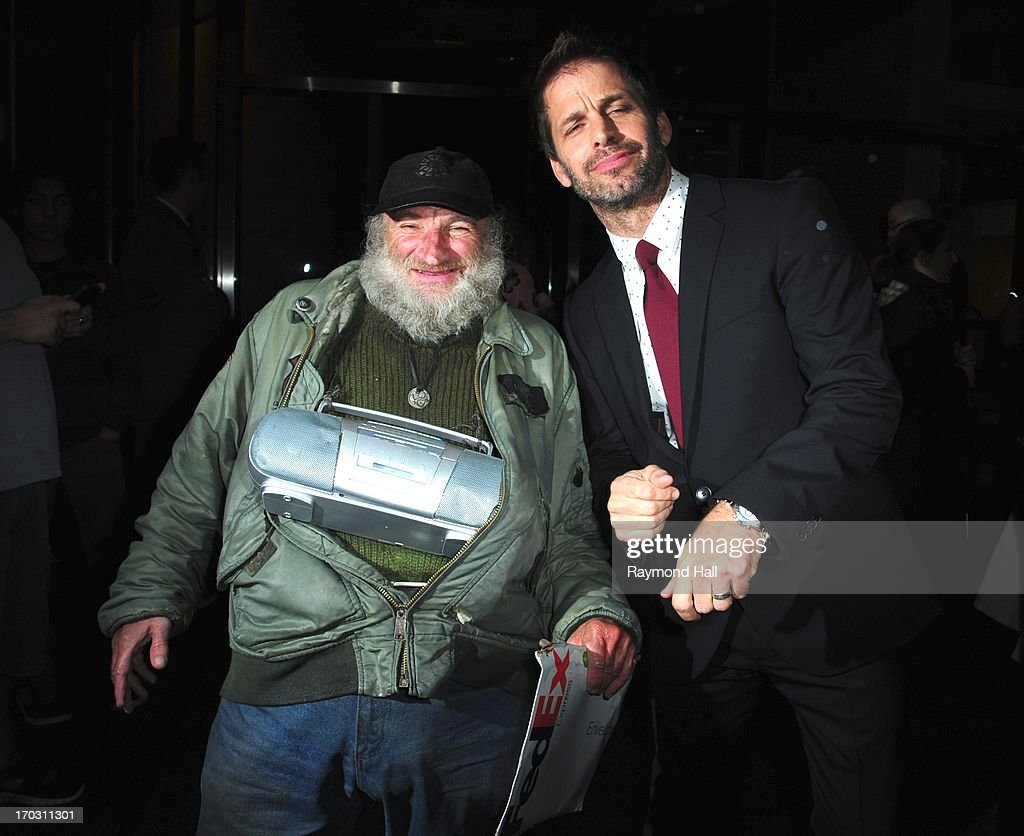 Directed <a gi-track='captionPersonalityLinkClicked' href=/galleries/search?phrase=Zack+Snyder&family=editorial&specificpeople=834481 ng-click='$event.stopPropagation()'>Zack Snyder</a> and Radioman are seen outside a Midtown Hotel on June 10, 2013 in New York City.
