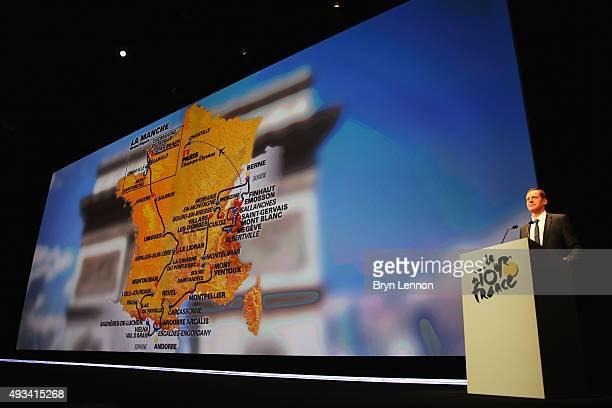Directeur du Tour de France Christian Prudhomme presents the 2016 Tour de France Route at the Palais des Congrès de Paris on October 20 2015 in Paris...