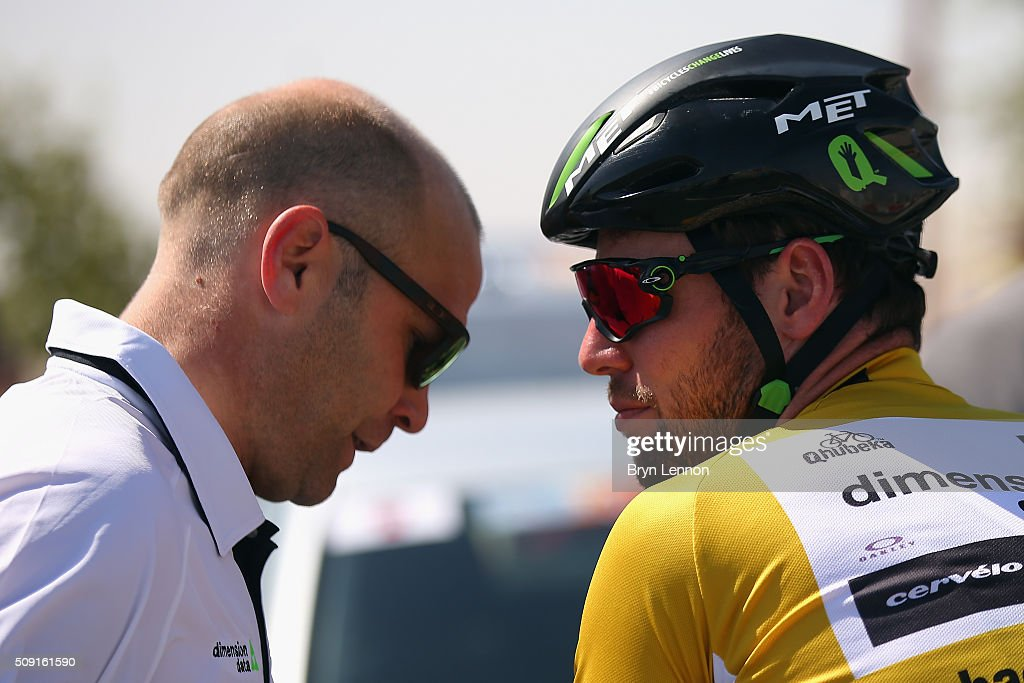 Directeur Sportif <a gi-track='captionPersonalityLinkClicked' href=/galleries/search?phrase=Roger+Hammond&family=editorial&specificpeople=2237013 ng-click='$event.stopPropagation()'>Roger Hammond</a> chats to <a gi-track='captionPersonalityLinkClicked' href=/galleries/search?phrase=Mark+Cavendish&family=editorial&specificpeople=684957 ng-click='$event.stopPropagation()'>Mark Cavendish</a> of Great Britain and Dimension Data at the start of stage two of the 2016 Tour of Qatar from Qatar University to Qatar Univeristy on February 9, 2016 in Doha, Qatar. The stage also serves as a test event for the World Road Race Championships which will be held in Doha in October.