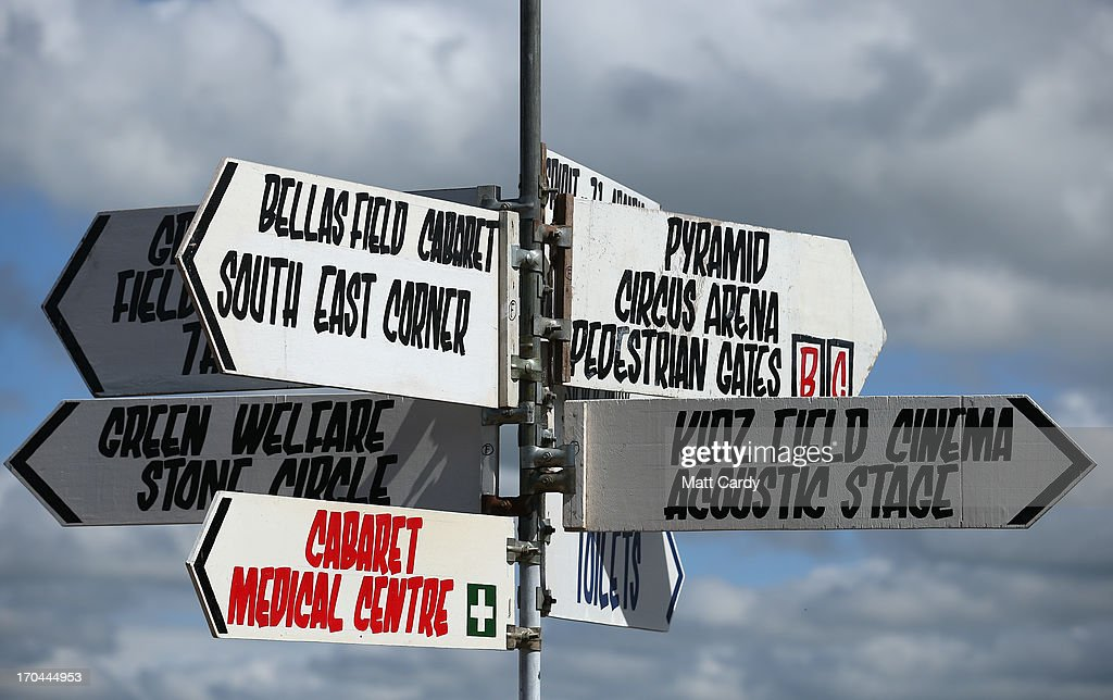 Direction signs are seen at the Glastonbury Festival of Contemporary Performing Arts site at Worthy Farm in Pilton on June 13 2013 near Glastonbury...