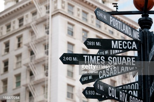 Directional and distance signs in Pioneer Courthouse Square in Portland