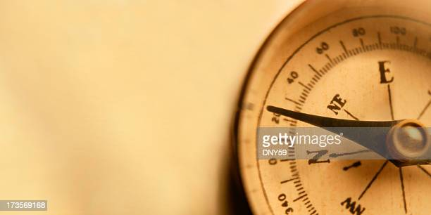 Directional Compass On Warm Golden Background