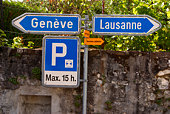 Directional road signs in Switzerland