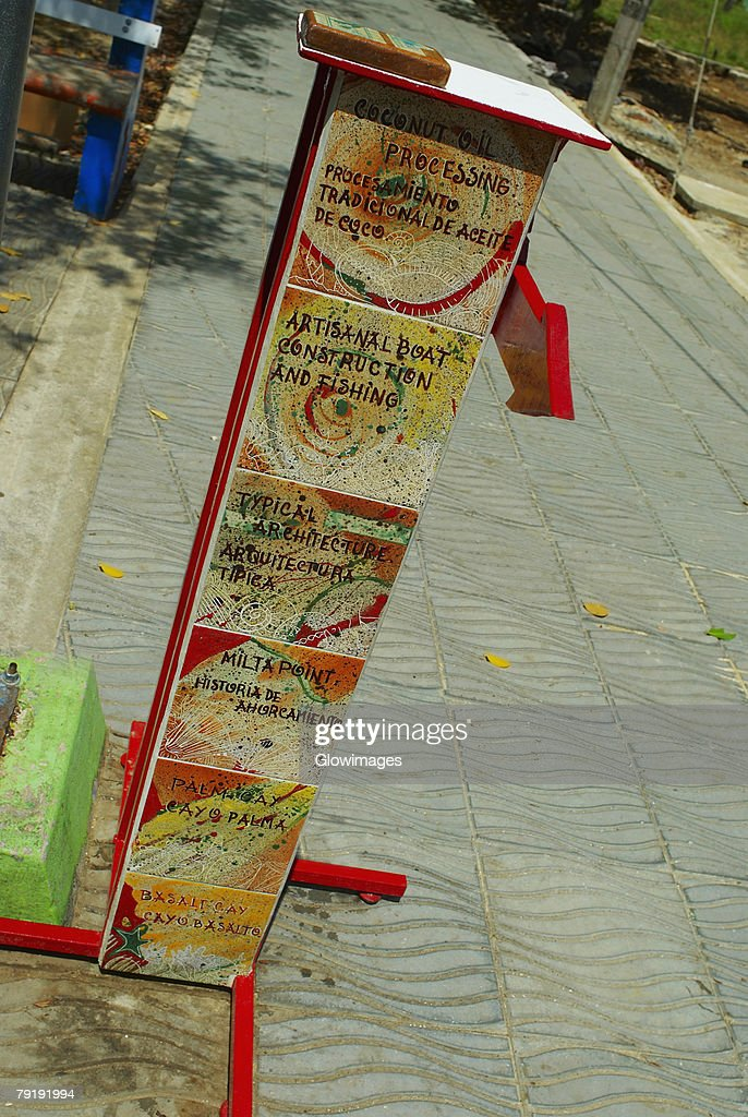Directional sign on the path, Providencia y Santa Catalina, San Andres y Providencia Department, Colombia : Stock Photo
