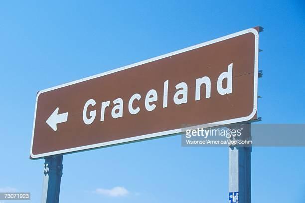 'Directional sign to Graceland, home of Elvis Presley, Memphis, TN'