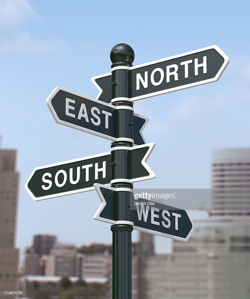 Directional signs saying, North, South, East, West : Stock Photo